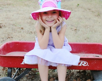 Big sun hat for girls, toddler hot pink wide brimmed sun hat, foldable hat, cute for spring