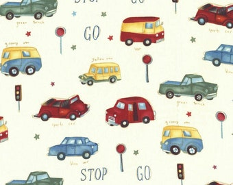 Michael Miller Cream Stop and Go CX4304 fabric with cars and buses - 3/4 yard - end of bolt special price