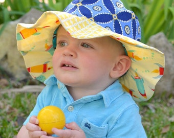 CLEARANCE - Wide brim sun hat for baby boys, ready to ship, cute photo prop, summer sun hat, yellow and blue, sun protection