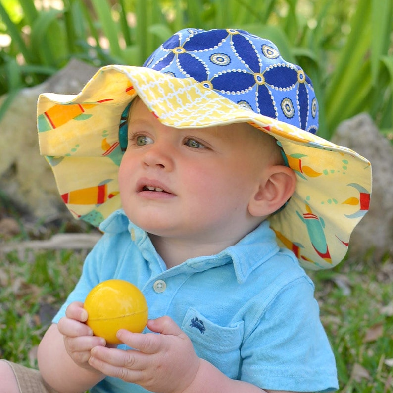 SALE  Wide brim sun hat for baby boys ready to ship cute image 0