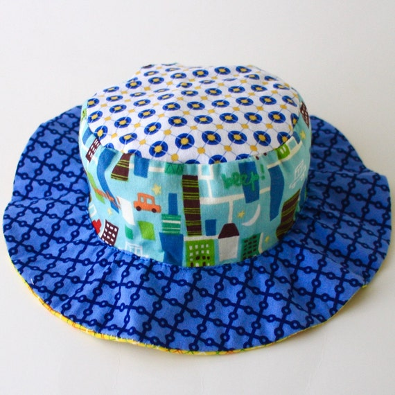 0d8b8b8c797 SALE Wide brim sun hat for baby boys floppy brim blue with