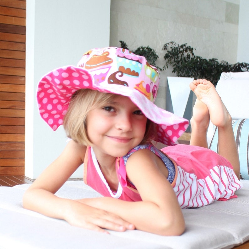 Children's sun hat wide brim uv protection pink hat image 0