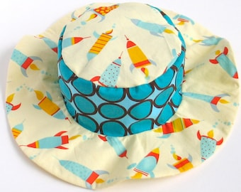 CLEARANCE - Baby wide brim sun hat, summer sun hat for boys, beach hat, rockets and bugs, ready to ship