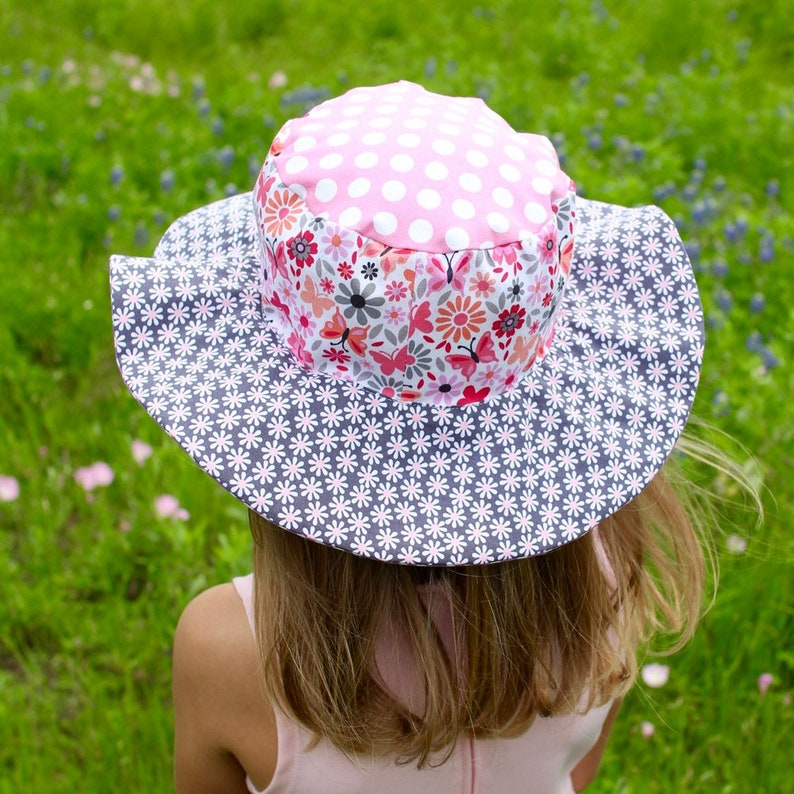 Sun hat with flowers and butterflies colorful wide brim hat image 0