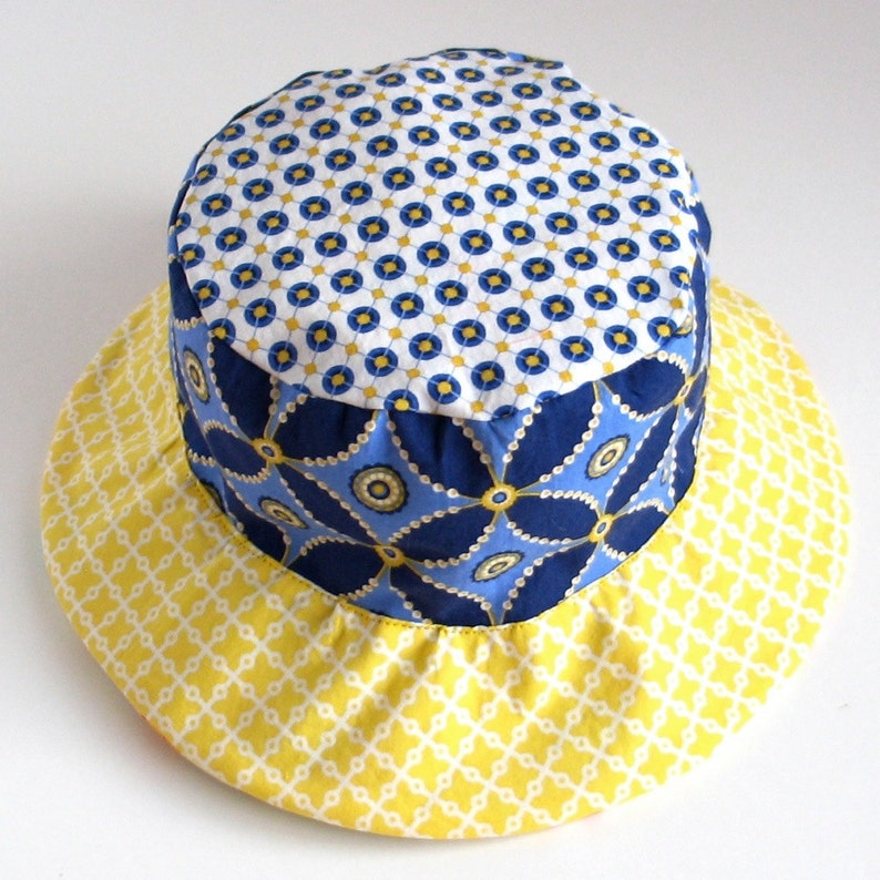 71ffd3f8677 SALE Plaid children s hat blue and yellow bucket sun