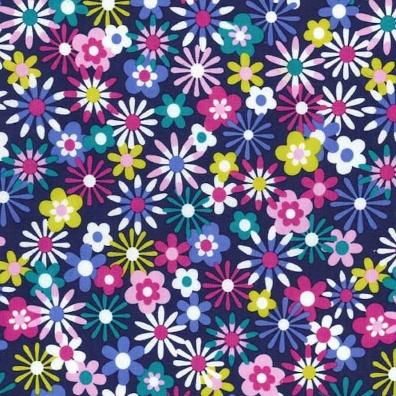 quilter's cotton Michael Miller Flowers Aplenty Midnight image 0