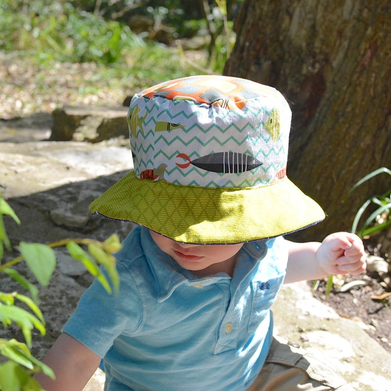 18267324b1b Baby boy bucket hat sun protection with brim reversible with