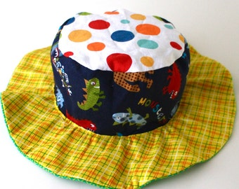 CLEARANCE - Baby boy wide brim hat  with cars and monsters, cute sun protection hat in stock and ready to ship