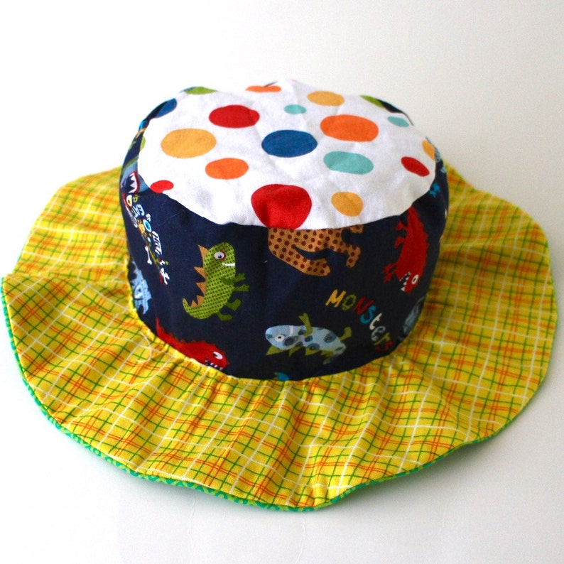 SALE  Baby boy wide brim hat  with cars and monsters cute image 0