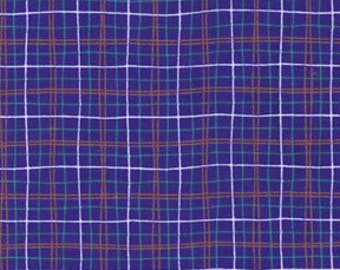 quilter's cotton, Michael Miller Blue Lunchbox, dark blue, white and red plaid fabric- 1 yard