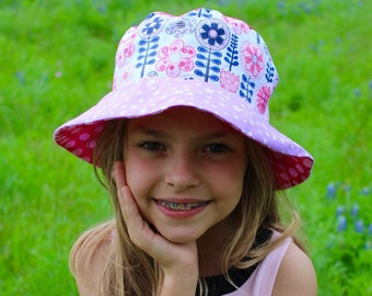 Girls bucket hat, pink and purple flower hat, reversible sun hat for girls
