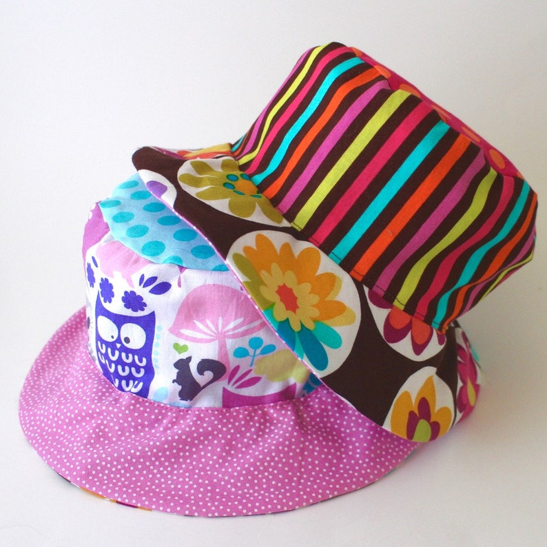 Baby sun protective hat bucket sun hat with flowers and owls image 0