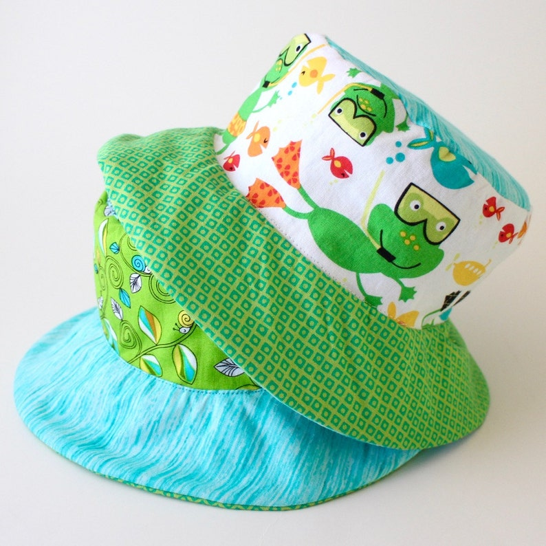 7dac32332bd75 Reversible baby sun hat bucket hat baby shower gift with