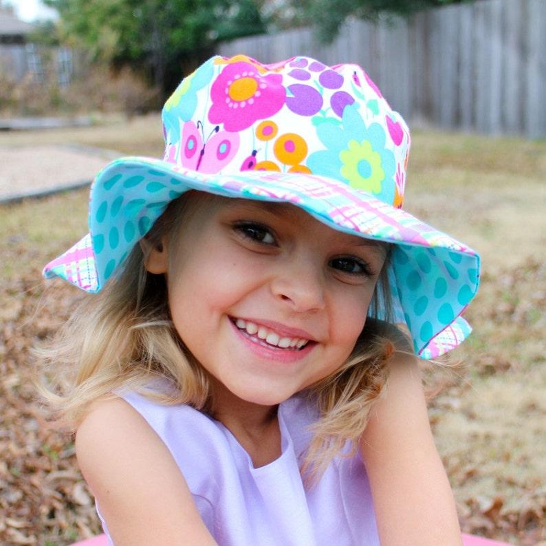 Toddler girls wide brimmed sun hat sun protective hat image 0