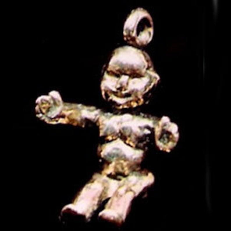 14 Karat Gold Mardi Gras King Cake Baby Pendant image 0