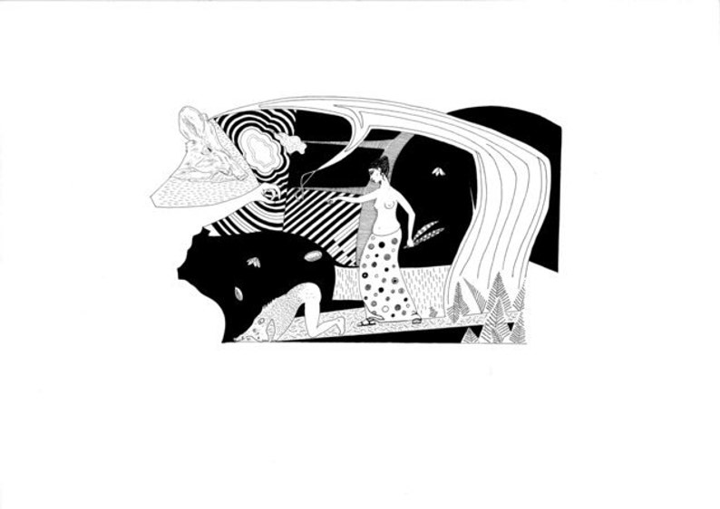 Dessin original la mythologie grecque Circé nourrir ses | Etsy