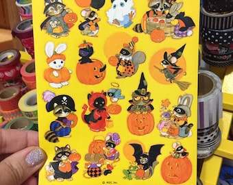 2e4d52cbccbe6 Vintage AGC American Greeting Cards Pumpkin Halloween Costume Animal  Stickers full sheet