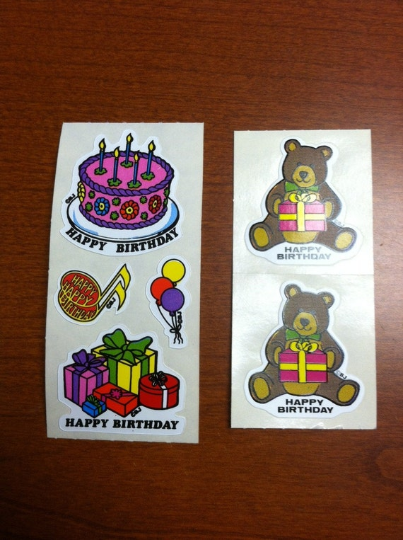 Marvelous Lot Of 6 Vintage Stickers By Bj Happy Birthday Cake Bears Etsy Funny Birthday Cards Online Sheoxdamsfinfo