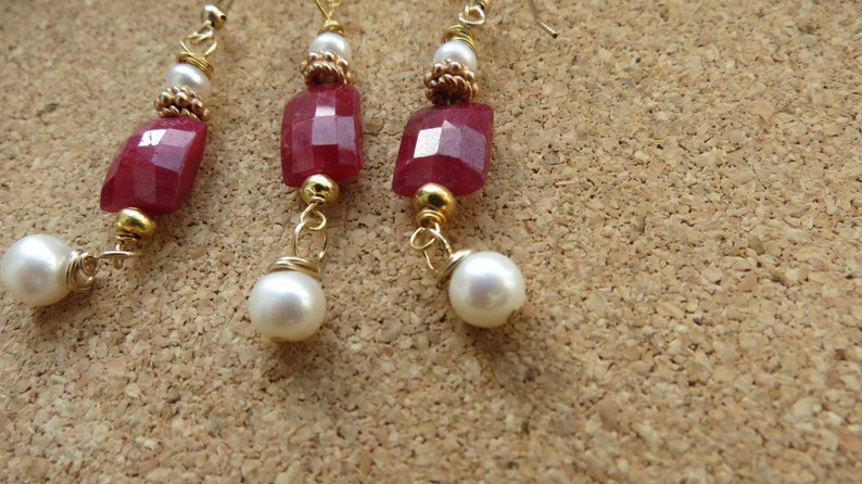 Ruby and pearl gold vermeil pendant  type necklace and earrings set