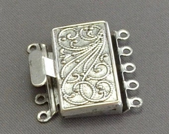 Box Clasp 5 Strand in Vintage Look Silver Finish 23mm x 21mm (1)