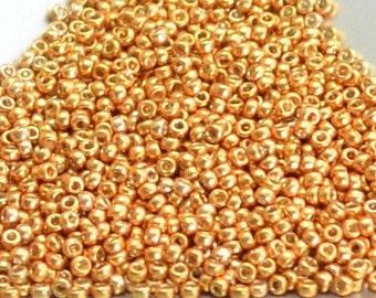 """15/0 Japanese Seed Beads - Duracoat Galvanized Yellow Gold Miyuki # 4203 (2"""" round tube, approx 8.2 grams)"""