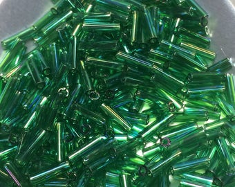 6mm Bugle Beads - Transparent Green AB 11 grams