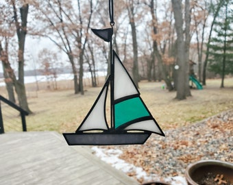 Stained glass mirror stained glass boat stained glass picture 3D art home decor sailing ship vacation sea wall decoration sailor gift summer
