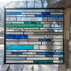 Cornish Harbour stained glass panel