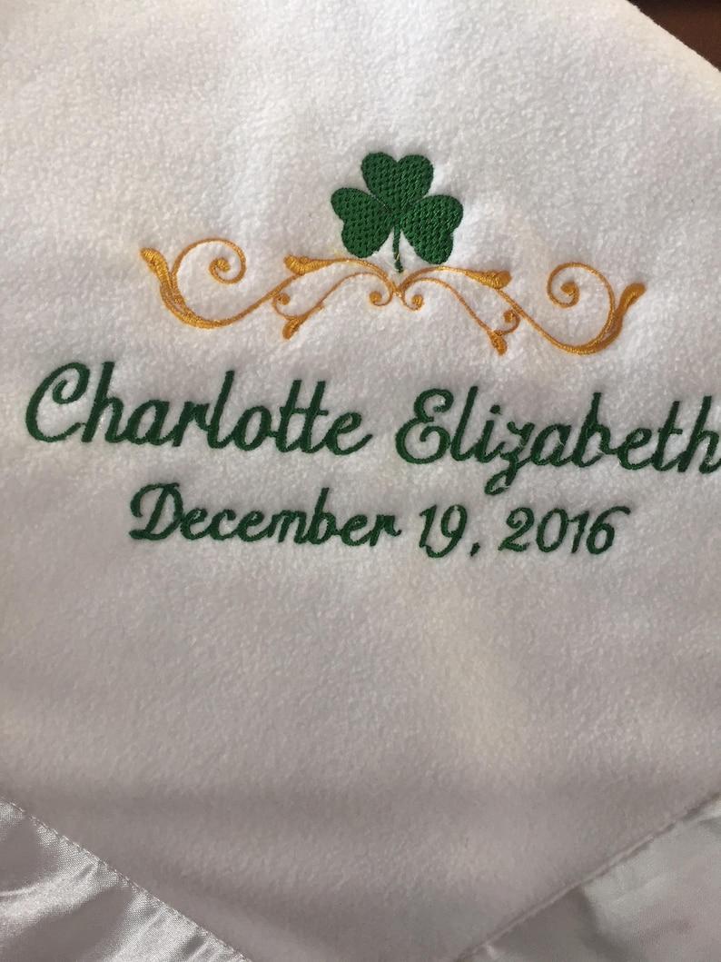 Personalized Irish Baby Blanket Embroidered Crib Gift Birth Christening and Baptism