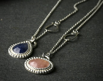 Tiny sterling silver and pink or blue sapphire pendant necklace
