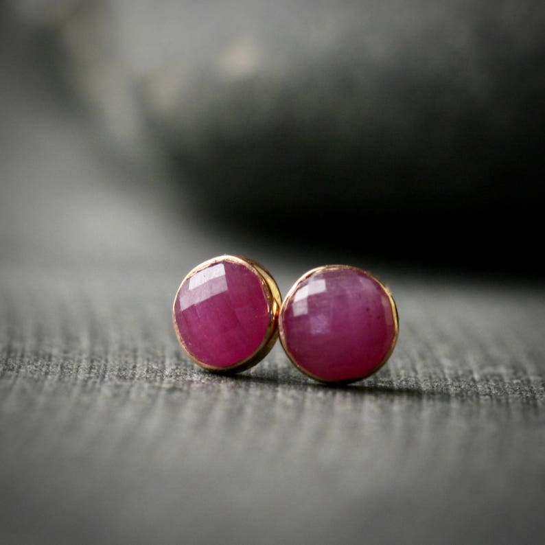 1c35bee49 5mm rose cut pink sapphire and 14k rose gold bezel set stud | Etsy