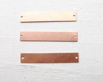 Copper Bar Blank Cu Drilled Connector for Necklaces Intials or Personalization Hand Stamping Artists (BR677684)