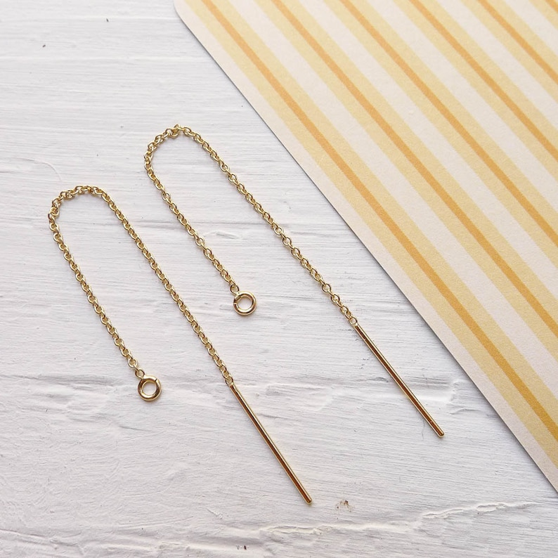 Gold Fill Thread Earrings Threader Earwires in Goldfilled image 0