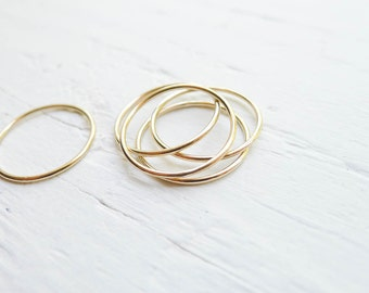 Skinny Gold Stacking Rings Size 7 GoldFilled Wispy 1mm Thin Rings for Hammering or Embellishing Size Seven (RHGR457)