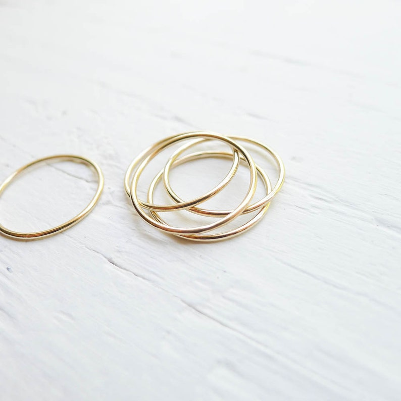 Size 9 Thin Gold Ring 1mm Wire Ring Size Nine for Stacking or Hammering Wispy Dainty Goldfilled Stackers RHGR459