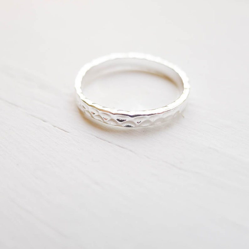 RHSR328 Size 8 Hammered Ring Sterling Silver Band 2.5mm Ring Size Eight Textured
