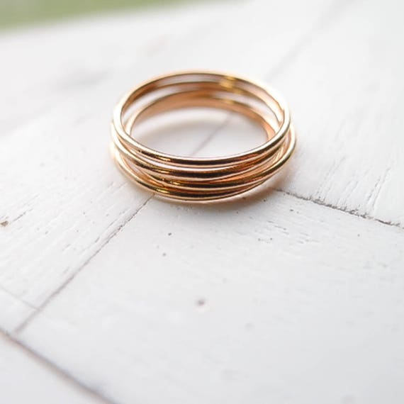 Minimalist Rose Goldfilled Stackable Band 14k Rose Gold Filled Stacking Ring Set for Women Simple Hammered Dainty Size 5 6 7 8 9 10