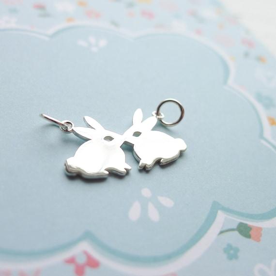 Bunny Charm Sterling Silver Pendant Kissing Rabbits