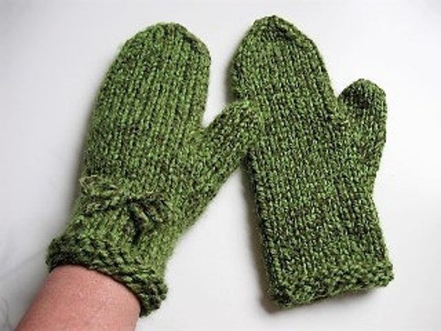 Pdf Knitting Pattern Bulky Yarn Mittens 1 Ball Project For Etsy