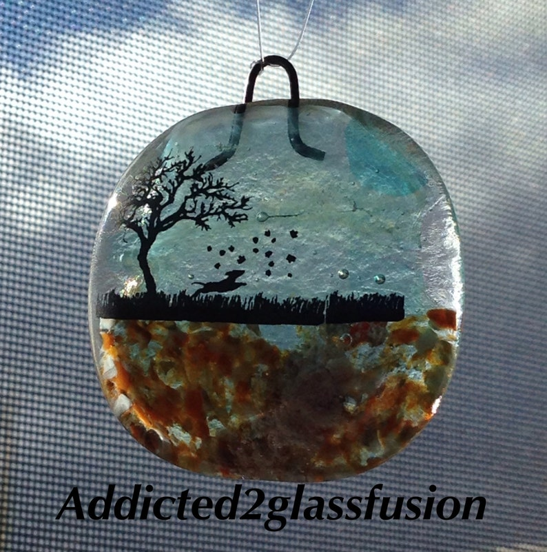 Pet Ashes fused into Glass Sun Catcher 2 square Dog memorial cremation wall hanging