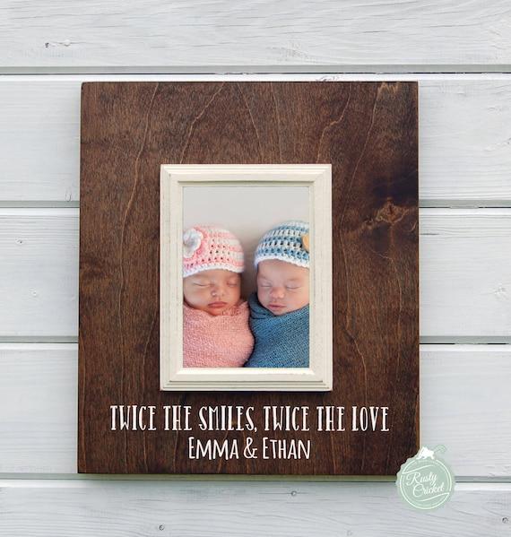 Doble regalo personalizado bebé gemelos 8 X 10 marco regalo