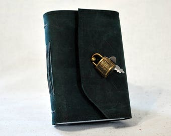 Small Slate Blue Leather Diary with Lock