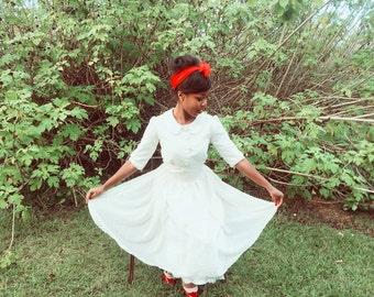Tannie, Ivory Vintage Inspired Dress, Peter Pan Collar, 3/4 sleeves, custom made