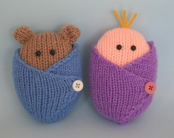 Wrapped Up Baby and Baby Bear - INSTANT DOWNLOAD PDF Knitting Pattern