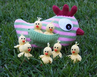 Mother Hen and Chicks - INSTANT DOWNLOAD PDF Knitting Pattern