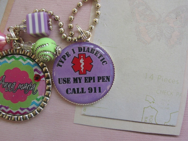 Personalized Medical alert Diabetic  necklace for kids and adults
