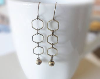 Brass Hexagon Earrings, Geometric Brass Earrings, Geo, Dangle Earrings, Simple Drop Earrings, Brass Jewelry, Modern Jewelry, Vintage Drops