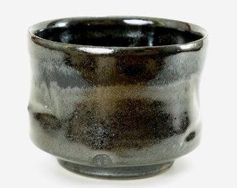 """Black tea bowl with metallic accents - 3 1/2"""" wide by 3"""" tall, holds about 12oz"""