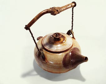 Stoneware Teapot - large, functional stoneware teapot with chestnut branch handle