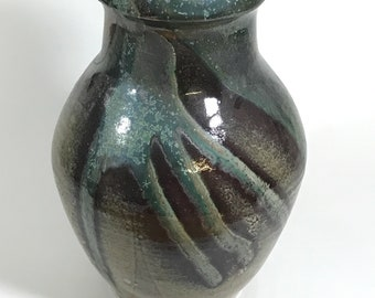 Large stoneware vase with stunning glaze in smoky greens, blues, and golds